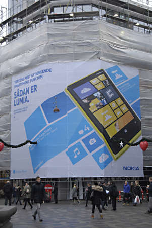 ediroial: Copenhagen  Denmark.  Nokia lumia billboard at Illum department store at amagertorv 20 Nov. 2012