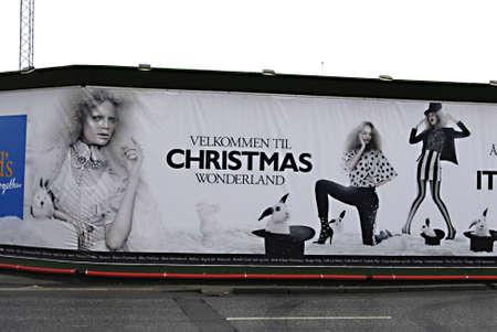 ediroial: Copenhagen  Denmark. Billboard with christmas message Velkommen til Christmas worderland at kogens nytorv 22 Nov. 2012