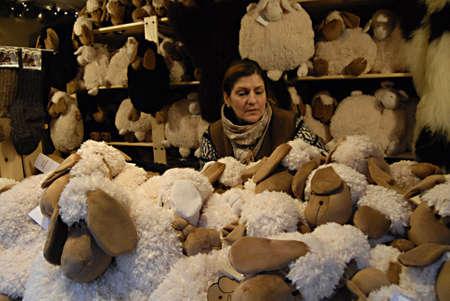ediroial: Copenhagen  Denmark.  Made in Germany das original from gegrofelle lambs and sheeps with skins at christmas market at hojbro torv 22 Nov. 2012