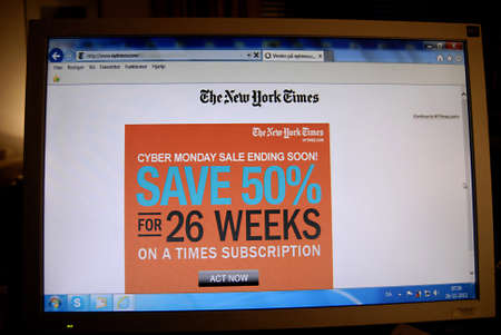new york times: Copenhagen  Denmark.in USA    Commercial on New York Times daily Cyber monday salemending soon save 0% for 26 weeks on a times subcription 26 Nov. 2012       Editorial