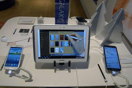 ediroial: Copenhagen  Denmark_Samsung galaxy tablet and smartphone display at phone  compnay 28 Nov. 2012