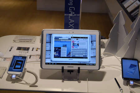 ediroial: Copenhagen  Denmark_Samsung galaxy bote II and  tablet and smartphone display at phone  compnay 28 Nov. 2012