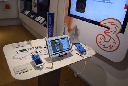 Copenhagen / Denmark_Samsung galaxy bote II and  tablet and smartphone display at phone  compnay 28 Nov. 2012            Stock Photo - 16585628