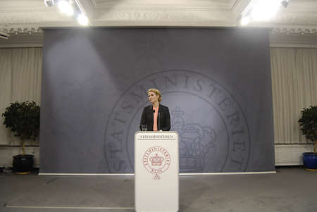 ediroial: Copenhagen  Denmark.Ms.Helle Thoirning-Schmidt danish prime minister holds her weekly press conference at Mirror Hall Chfristiansborg and high light danish state school reform this is new that Enbglish language start from 1st.class ind danish public scho Editorial