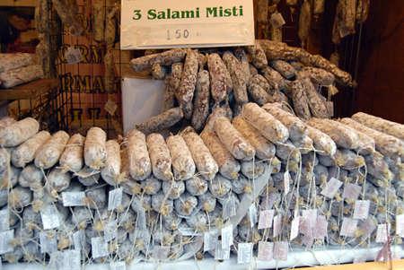 ediroial: Copenhagen  Denmark.Italian suasages food salami misti on sale in christmas market   27 Nov. 2012        Editorial