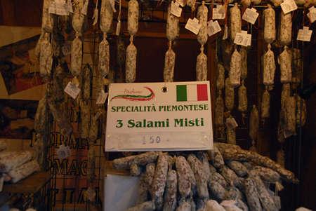 ediroial: Copenhagen  Denmark.Italian suasages food salami misti on sale in christmas market   27 Nov. 2012