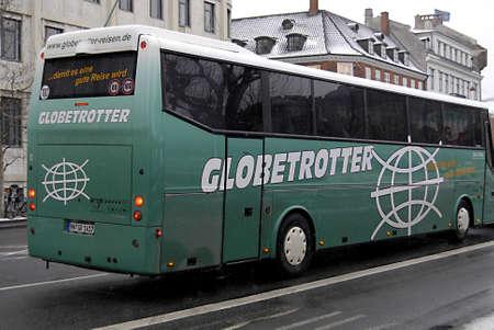 globetrotter: Copenhagen  Denmark.  German Globetrotter bus tour in Copenhagen for Christmas shopping tour 6 Dec. 2012         Editorial