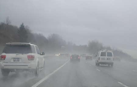 SEATTLE/WASHINGTON STATE /USA _Trafic in heavy rain on seattle free way 26 Dec. 2012     Stock Photo - 17051063