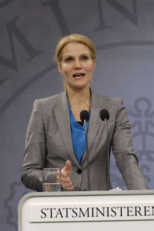 helle thorning schmidt: Copenhagen  Denmark. Ms.Helle Thornin-Schmidt danish prime minister holds heer weekly press conference and high light Student help cut for 2 billuions dqnish krons and how to help immigarnts women in danish society some immigrants womena re for 10 years