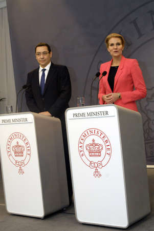 danish prime minister: Copenhagen  Denmark.  Ms.Helle Thorning-Schmidt danish prime minister holds political talk with her counter part Victor Ponta prime miniwter of Romania at danish prime minister office and later after talk hold joint press conference at Mirro Hall PM offi