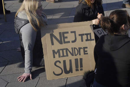 educations: Copenhagen  Denmark.   Danish students staged protest rally against their SU called  Social and education students assistant government will cut some students assistance tduring univeristy educations thousands of students walked from Copenhagen city hall