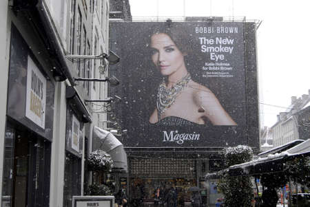 bobby: Copenhagen  Denmark. Katie Holmes for Bobby Brown advertisement for The New Smokey Eyes  billboard at Magasin du nord today on 3 March 2013