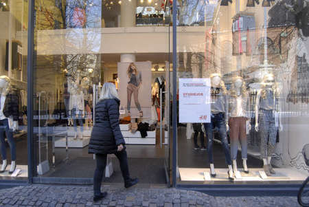 hm: Copenhagen  Denmark. Banner read that H&M hire for student job under 18 years age 14 March 2013