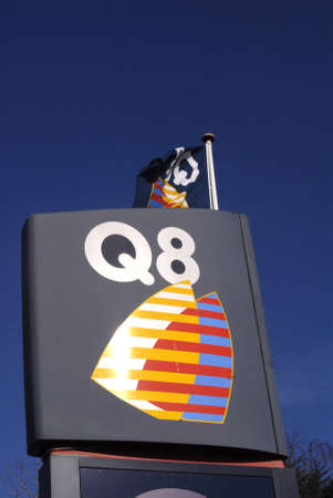 benzin: Copenhagen  Denmark. Q8 gasoline station from arab country Kuwait 11 March 2013    Editorial