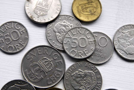 Korn: KASTRUPCOPENHAGENDENMARK _ Swedish coins swedish korn as Swedes are not with Eurozone  like Denmark and England Swedish coins on hands and not on hand palm 19 March 2013