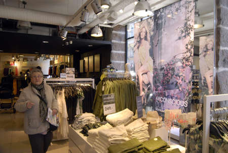 conscious: Copenhagen  Denmark.H&M Conscious colectyions  and more sustainable fashion and  Singer and celebrity on H&M billboard and her creation for H&M salling in stores in Copenhagen today 26 March 2013