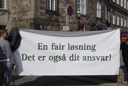 lockout: Copenhagen  Denmark.  Danish teachers protest from various schools thusands of teachers are lockout to teach without pary their  salery  this third week of lockout for teaching in danish schools teachers staaged protest infron of the danish minister for