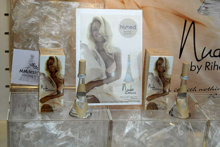 parfum: Copenhagen  Denmark. Parfum and shoe design Nude by Rihanna at Matas parfum store 19 April 2013