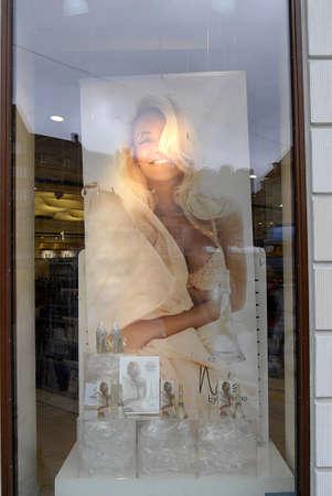 parfum: Copenhagen  Denmark. Parfum and shoe design Nude by Rihanna at Matas parfum store 19 April 2013        Editorial