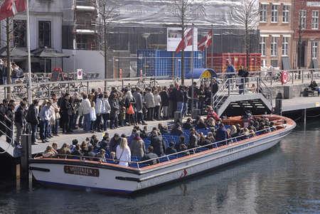apri: Copenhagen  Denmark.  Canal boat tourists 20 Apri 2013         Editorial