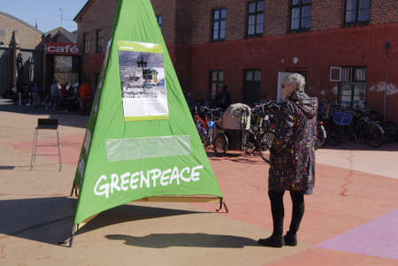 Copenhagen  Denmark. _Greenpece happening at Norrebrohallento celebrate worldside day  I love Arctic today on sunday 21 April 2013