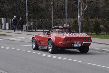 corvette: Copenhagen  Denmark.  Old classic corvette car 26 April 2013        Editorial