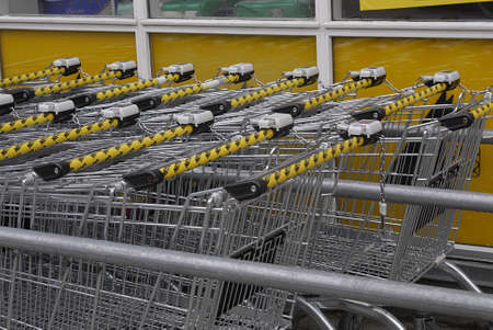 fakta: Copenhagen  Denmark.  Shopping carks are parked on holiday all food supermarket are closed due to religious holiday in Denmark 26 Arill 2013    Editorial