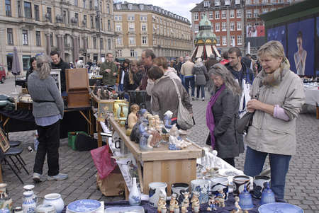 old items: Copenhagen  Denmark. _Consumers at saturdays fleamarket at kongens nytorv today on 27 APRIL 2013