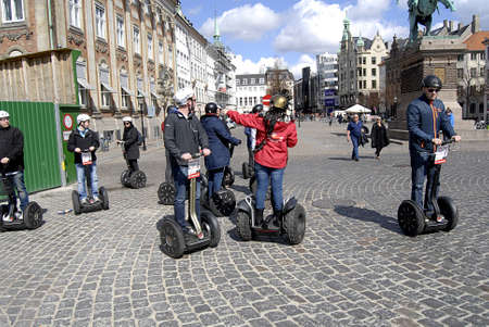 Copenhagen  Denmark.  tourists on daily tours by segway on sunday 29 Apeil 2013        Editorial