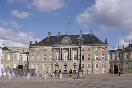 royality: Copenhagen  Denmark.   Amaliemborg palace  sq. and amalie park on sunday 28 April 2013