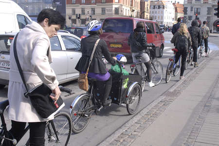 Copenhagen / Denmark.  _danes use bike s their transportation it sifaster and quick transportation system 1 May 2013     Stock Photo - 19368357