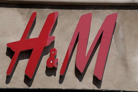 hm: Copenhagen  Denmark.    H&M red logo on store 16 May 2013