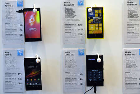 Copenhagen / Denmark. Smartphones Samsung ,Iphone 5 and nokia lumia on sale at phone store 16 May 2013          Stock Photo - 19618443