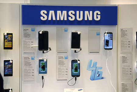 Copenhagen  Denmark. Smartphones Samsung ,Iphone 5 and nokia lumia on sale at phone store 16 May 2013