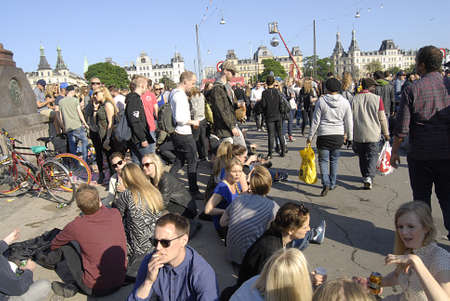 Copenhagen / Denmark.  Distortion a clelebration of Copenhagen nightlife or street party today at Norreborgade from mid noon till ten pm  cordination with Copenhagen City Hall and danish police  thousands of young  people gether in Copenhagen tdoay on 29  Stock Photo - 19886165
