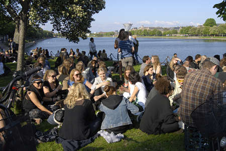 Copenhagen / Denmark.  Distortion a clelebration of Copenhagen nightlife or street party today at Norreborgade from mid noon till ten pm  cordination with Copenhagen City Hall and danish police  thousands of young  people gether in Copenhagen tdoay on 29  Stock Photo - 19886166