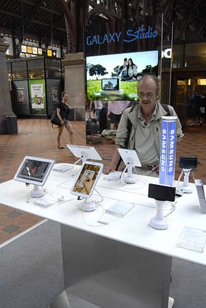 Copenhagen / Denmark.  Samsung products are display at Copenahgen main train station today on friday 7 June 2013       Stock Photo - 20120673