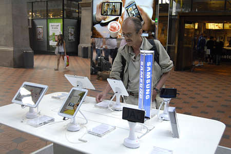 Copenhagen  Denmark.  Samsung products are display at Copenahgen main train station today on friday 7 June 2013