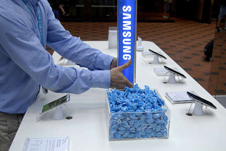 Copenhagen  Denmark.  Samsung products are display at Copenahgen main train station today on friday 7 June 2013         Editorial