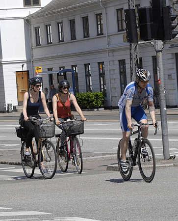 raod: Copenhagen  Denmark. bikeers and cyclists on raod 15 June 2013