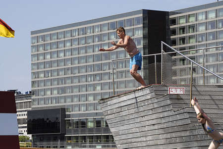the bather: Copenhagen  Denmark. Official opening of Island Brygge (Iceland Brygge)habour swimming pools divere making use of opening day today and diving in pools today on saturday 2013