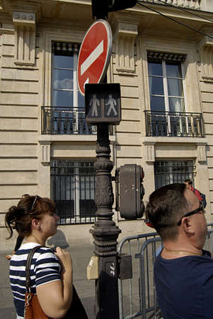 trafic: PARISFRANCE _Paris has still unique and old  trafic signals lights in some part of Paris city 22 July 2013