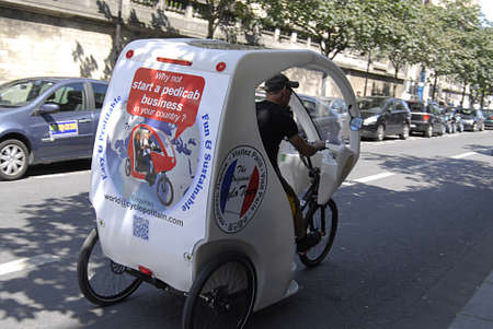 PARIS/FRANCE  _Pedicab is new way of travel in Europe 25 July 2013
