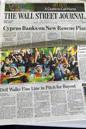 Copenhagen  Denmark._European print edition of The Wall Street Journal 11 August 2013