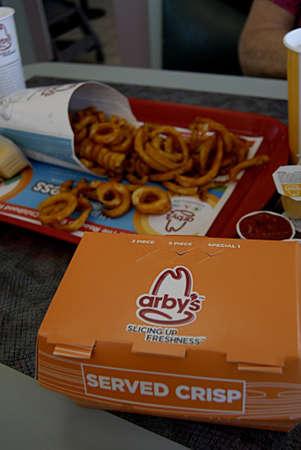 SPOKANEWASHINGTON STATE USA _ Fast food restaurant Arbys varity of food menu 31 august 2013