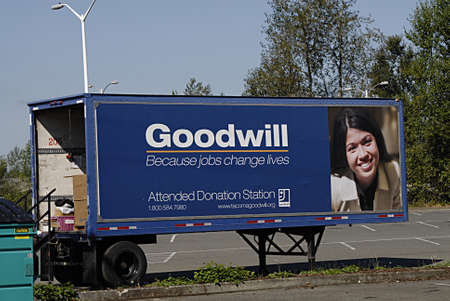 goodwill: BURKLEYWASHINGTON STATE USA _        (PHOTO BY Francis Dean  Deanpictures) Goodwill donation truck parked to wait for donation giver 8 Sept.2013