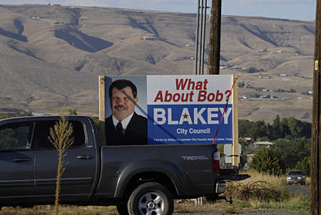 polictics: LEWISTONIDAHO STATE USA _ Bob Blakey for city council election billboard display at corner 8th st and 25th st  15 sept.2013
