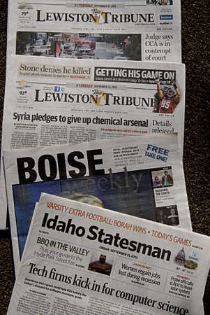 statesman: LEWISTONIDAHO STATE USA _26 sept. 2013- Idaho state dailies and weekly newspaper the Lewiston tribune Boise weekly and Idaho statesman