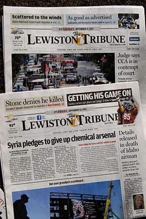 statesman: LEWISTONIDAHO STATE USA _26 sept. 2013- Idaho state dailies and weekly newspaper the Lewiston tribune Boise weekly and Idaho statesman     Editorial