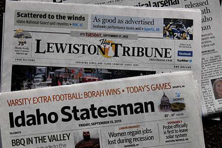 statesman: LEWISTON  IDAHO STATE  USA _26 settembre Quotidiani statali Idaho e settimanale Lewiston tribune Boise settimanale e Idaho statista - 2013